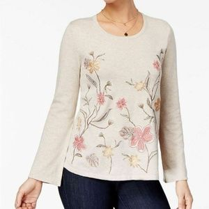 Style & Co Womens Sweater Floral Long Bell Sleeve